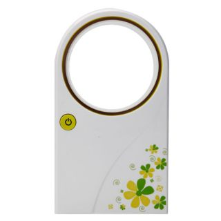 Air Condition Flower Pattern Mini Portable Bladeless Fan Green
