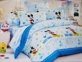 Blue Star Mickey Mouse King Bed Quilt Cover Set