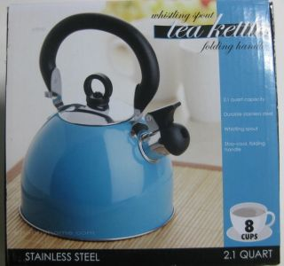 Whistling Spout Tea Kettle 8 Cups Aqua Stainless Steel with Stay Cool