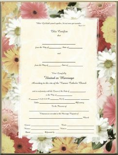 Catholic Marriage Certificate Mixed Daisies Blank