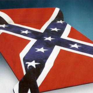 Red Confederate Rebel Flag Plush Mink Blanket King Size