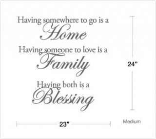 HOME  FAMILY  BLESSING    Vinyl Wall Saying Quote Decal
