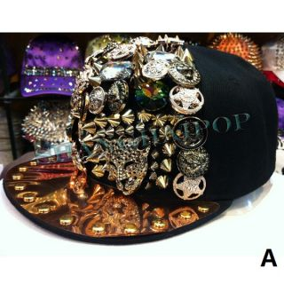 Bling Jewelry Cap Star Badge Hip Hop Studs Rhinestone Spikes Dancer
