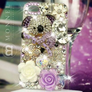 S27 Luxury Bling Crystal Charms Pearl Koala Bear iPhone 4 4S Case