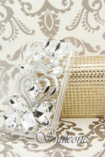 3D Swarovski Crystal Bling Case for iPhone 4 4S Clear Heart Crown