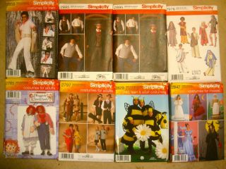 Simplicity Misses Mens Child Teen Costume Patterns 30 Styles All Sizes