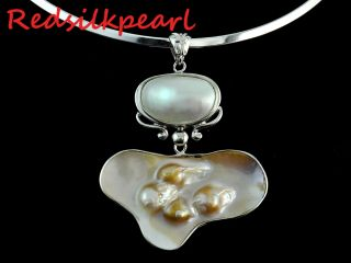 16 Gorgeous Natural Mabe Freshwater Pearl Drop Necklace Pendant