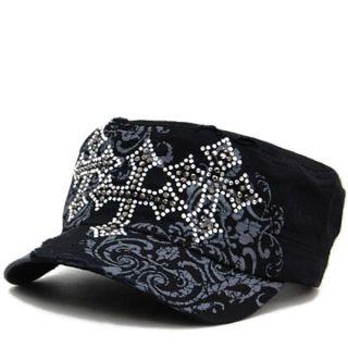 Triple Rhinestone Cross Black Hat Baseball Cap Ladies Western Bling