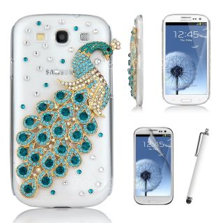 Bling 3D Peacock Rhinestone Case Cover for Samsung Galaxy S3 III i9300