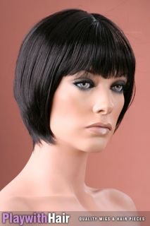 Neat Style Skin Top Short Bob Wig Brown Black