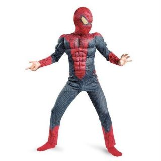 NEW Boys SPIDERMAN w MUSCLES costume dress up Size 7 8 mask Spider man