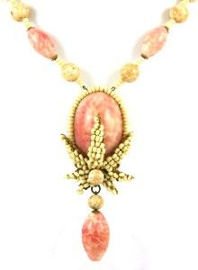 Haskell Bone Coral Pink Necklace with ER Design Robert Clark