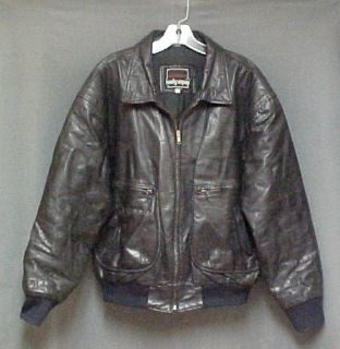 Black Leather Jacket Mens Size Medium Measured Body Equipment Brand