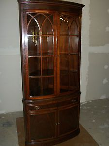 Antique Robert W Irwin Co Mahogany Corner Hutch China Cabinet Curved