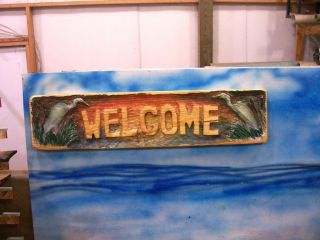 Chainsaw Carving Heron Egret Welcome Sign Carved Fishing Cabin Home