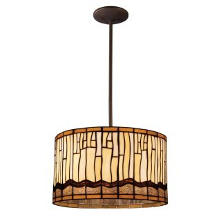 Light Drum Pendant Lighting Fixture, Bronze, Amber Brown Tiffany Glass