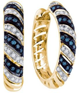 these are 10k yellow gold blue diamond earrings beautiful blue
