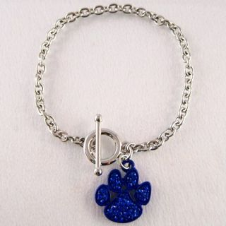 blue crystal dog paw printed toggle bracelet item number bcs0031