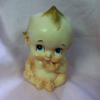 Vintage Baby Head Vase Planter Big Blue Eye Antique Face Nursery