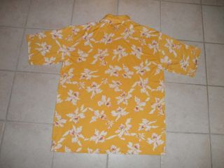 Bobby Chan Mens Silk Hawaiian Polo Shirt XXL Short Sleeves Yellow