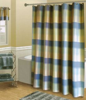 Plaid Blue Green Tan Textured Luxury Fabric Shower Curtain NEW