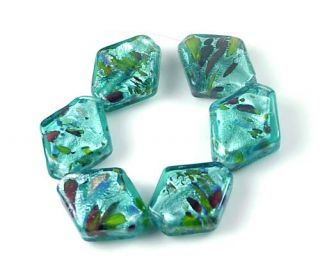 lampwork glass silver foil blue diamond beads 6