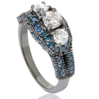 75ct Blue White Diamond Vintage Style Engagement Antique 3 Stone