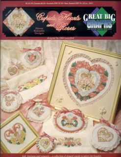Cupids Hearts and Roses Valentine Cross Stitch Pattern Leaflet New