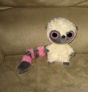 Aurora Big Blue Eyes Lemur Monkey Pink Plush w Sound