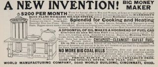 1903 Ad Harrison Blue Flame Wickless Oil Gas Stove Original