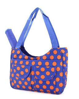 Polka Dots Print Diaper Tote Handbag Royal Blue Orange
