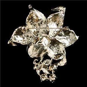 Retro Flower Orchid Drop Pin Brooch Swarovski Crystal Blue Pendant