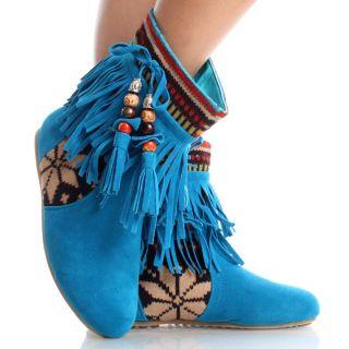 Blue Suede Tribal Fringe Fair Isle Tassel Womens Flat Ankle Boots Size
