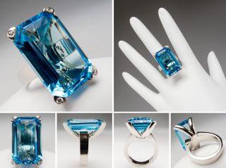 Genuine Blue Topaz Cocktail Ring w/ Diamond Prongs 14K White Gold sku
