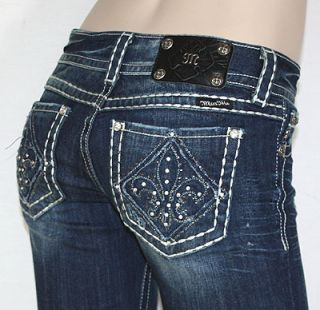 Miss Me Crystal Fleur de Lis Blue Jeans Wide Stitching JP5129 Just in