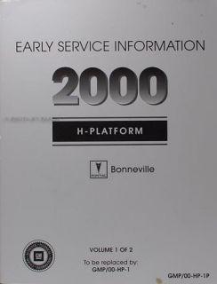 2000 Pontiac Bonneville 2 Volume Repair Shop Manual Set Factory