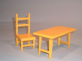 VINTAGE BARBIE DOLL HOUSE 2 PC SET KITCHEN DINING TABLE CHAIR PLASTIC
