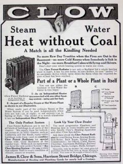1910 James Clow Sons Radiator Boiler Heating Unit Ad