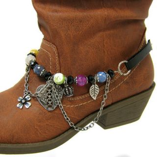 Multi Colored Beads and Charms Boot Anklet Bracelet