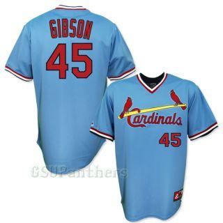 Bob Gibson St Louis Cardinals Cooperstown Blue Away Jersey Sz M 2XL