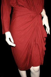 2445 Lanvin Draped Jersey Wool Blend Dress Bordeaux Red Sz 8 10