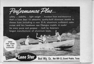 Original 1953 Vintage Ad Lone Star Boats Grand Prairie,Texas .