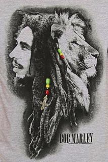Conquering Lion of Judah Rasta Reggae T Shirt M White