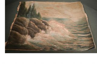 Antique Robert Lee Perry ASIS Marine Painting Ship Coast Maine