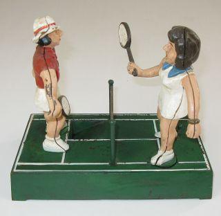 Tennis Cast Iron Mechanical Bank Billie Jean King Bobby Riggs