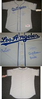 Carl Erskine Steve Yeager Dusty Baker Bob Welch Autograph Dodgers
