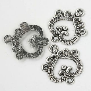 30 Pcs Tibetan Silver Heart Charm Connectors Findings