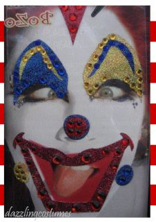 xotic eyes body art applications stick on bozo clown face glitter gems