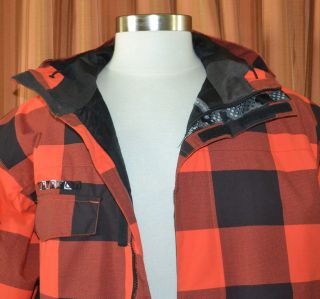 Black Plaid Snowboard Winter Snow Ski Jacket Coat Mens Large