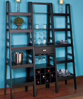 Modern Contemporary Ladder Wine Bottle Glass Storage Shelf Cabinet